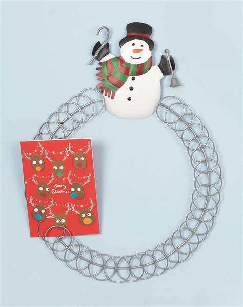 standing snowman christmas card holder 44cm snowman 50 card holder display metal decoration wire ebay