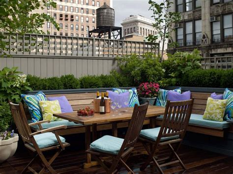 Best Patios In Cities by City Roof Top Patio With L Shaped Teak Bench Teak Dining