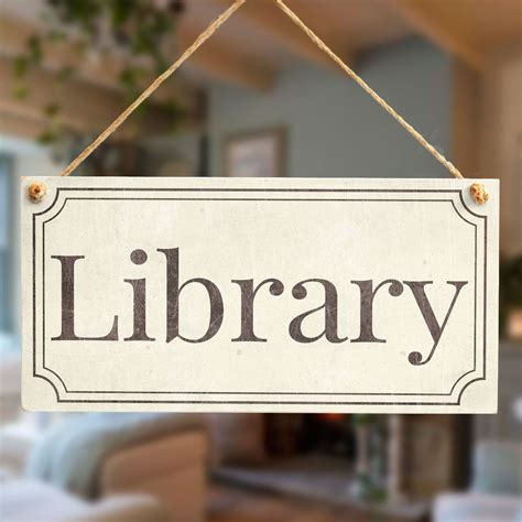 Handmade Door Signs - library stylish vintage style handmade library door sign