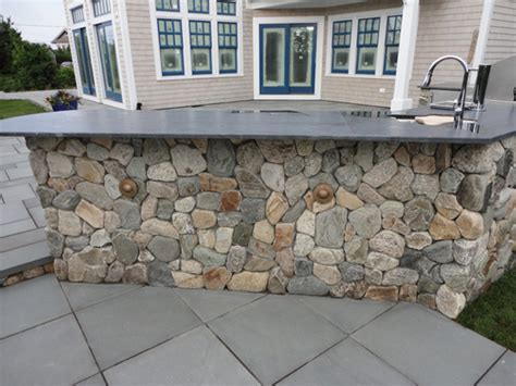 Wood Panelling new england round fieldstone veneer mike stacy landscaping