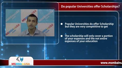 Does Usf Offer Mba Scholarships by Do Popular Universities Offer Scholarship For Ms In Usa