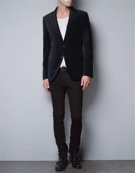 Blazer Zara zara velvet blazer in blue for navy lyst