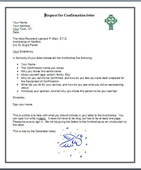 Confirmation Letter To God Confirmation