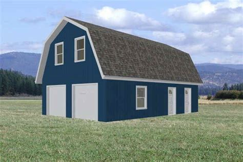 Gambrel Barn Plans by 24 X 36 Gambrel Barn Garage Plans Sds Plans