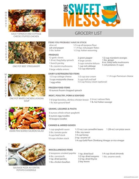 week list 2017 weekly meal plan january 16th 2017 one sweet mess