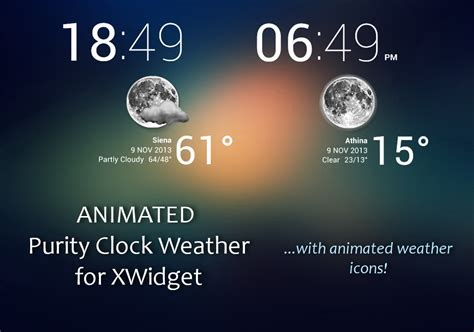 themes weather clock animated purity clock weather for xwidget by jimking on