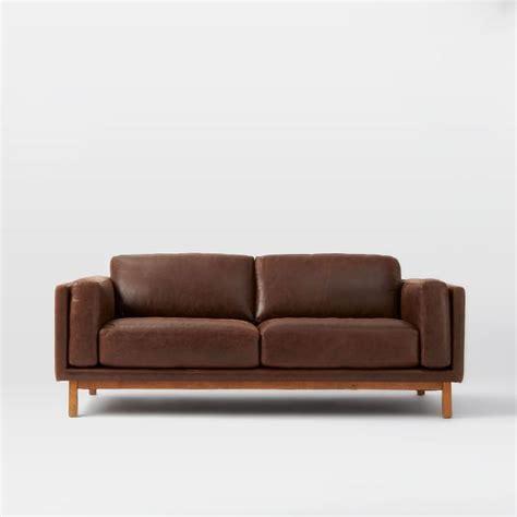 West Elm Futon Sofa by Furniture Leather Dekalb Leather Sofa Quot West Elm
