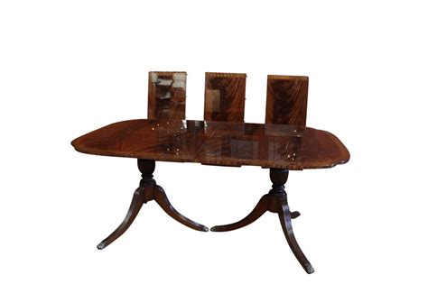 mahogany dining room table duncan phyfe scallop corner double pedestal dining table