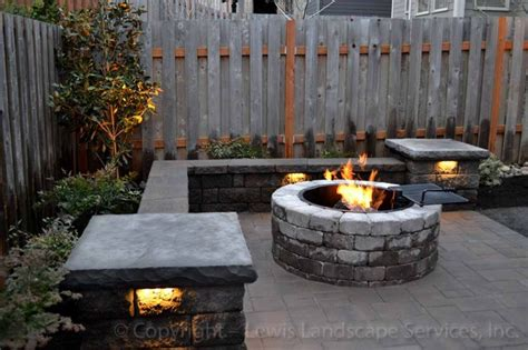 Paver Patio Seat Wall Fire Pit Outdoor Lighting Modern Patio Lighting
