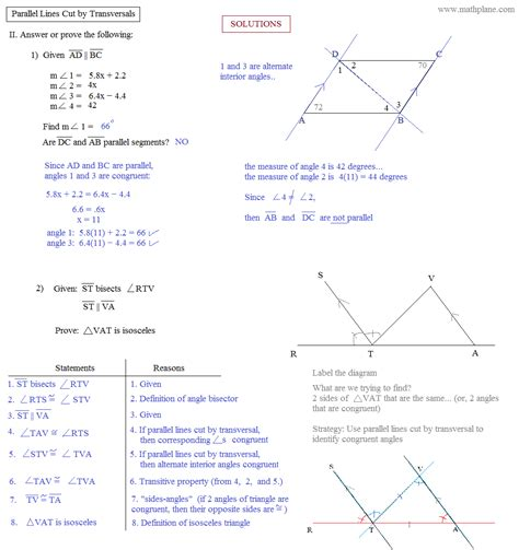 Parallel Lines Cut By A Transversal Worksheet Pdf by Math Plane Parallel Lines Cut By Transversals