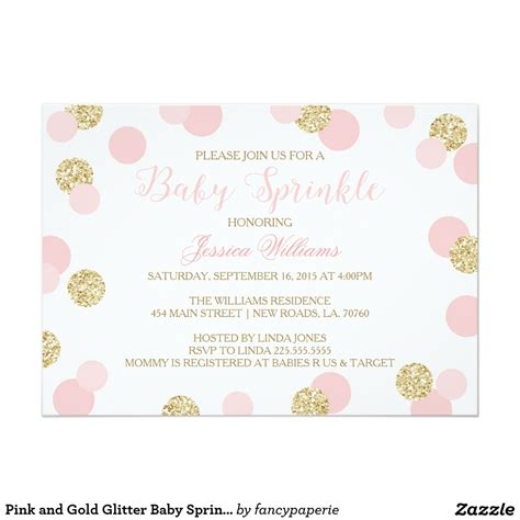 pink and gold glitter baby sprinkle invitations baby