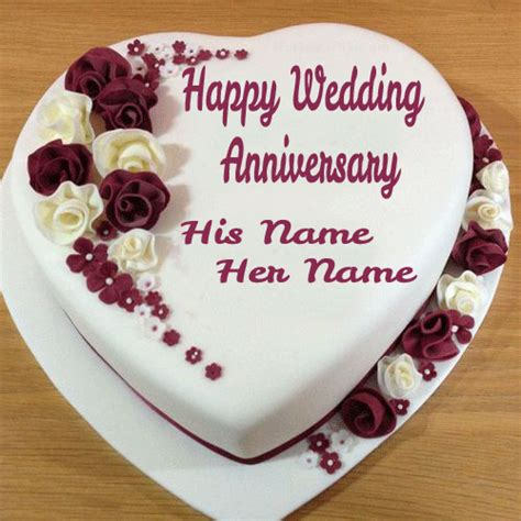 Wedding Wishes With Name Edit by Write Name On Wedding Anniversary Cake