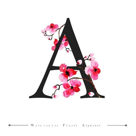 color with letter a a alphabet letter watercolor floral background watercolor