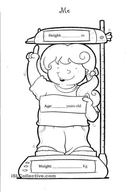preschool coloring pages all about me height and weight all about me worksheet разни идейки