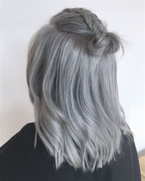 degrees of gray hair grey hair silver hair bun follow us on instagram www