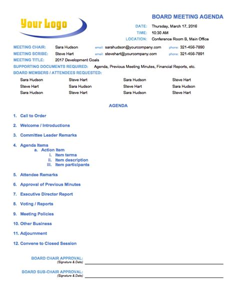 board meeting agenda template free meeting agenda templates smartsheet
