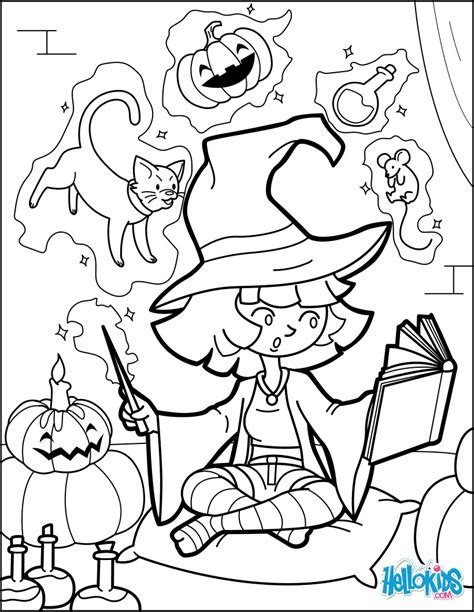 mean witch coloring page little halloween witch practises magic coloring pages