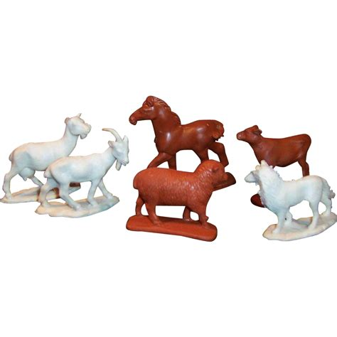 farm animal rubber sts six vintage auburn rubber farm animals from