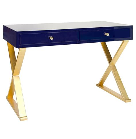 desk with gold legs keating hollywood regency navy blue lacquer gold desk
