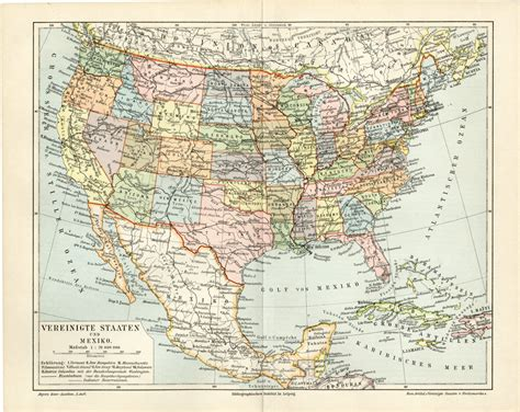 printable map of the united states and mexico united states mexico antique map print c 1895 gorgeous old