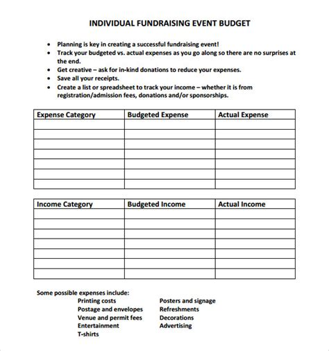 9 Event Budget Sles Sle Templates Fundraising Event Program Template