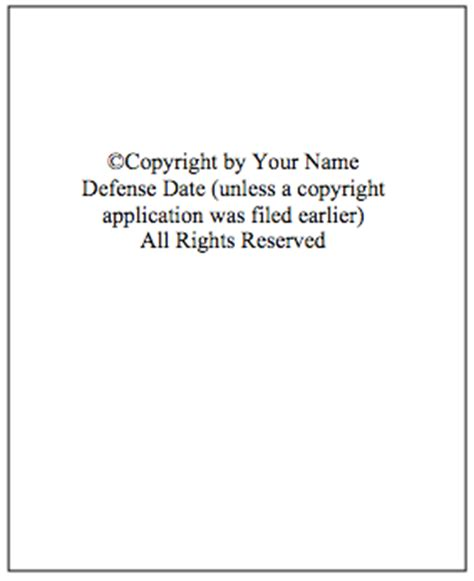 thesis copyright page formatting dissertation guide lamson library at