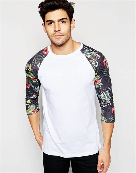 Print Sleeves T Shirt lyst asos 3 4 sleeve t shirt with floral print sleeves