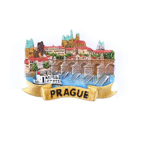 Souvenir Tempelan Magnet Shanghai Impression prague republic charles bridge resin magnetic fridge