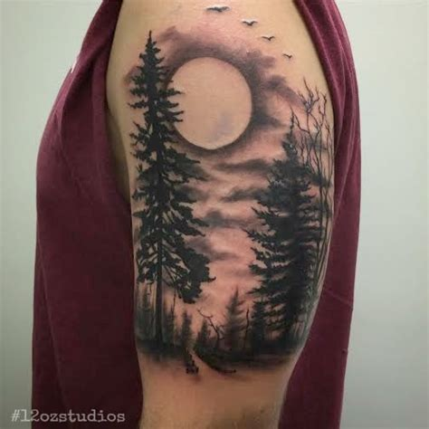 forest scene tattoo work in progress black and grey forest nature trees
