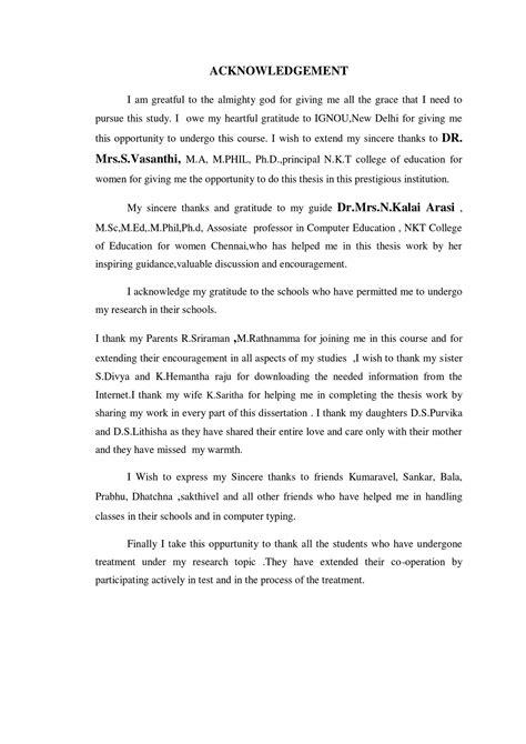 Acknowledgement Letter Parents Dissertation Acknowledgement Parents