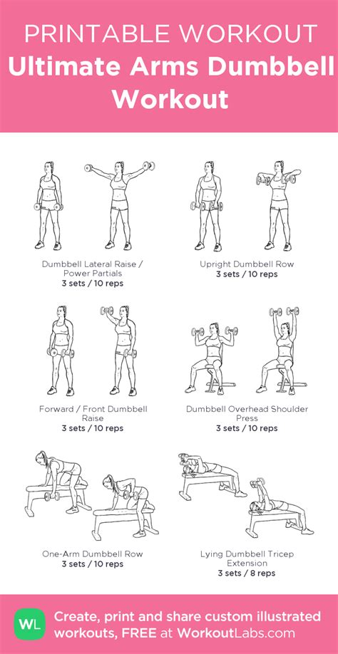printable exercise instructions ultimate arms dumbbell workout my custom workout created