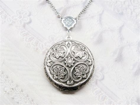 flower design necklace silver locket necklace silver flower locket celtic design