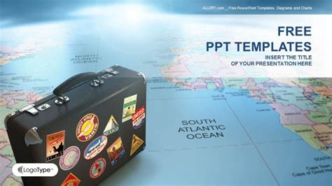 Suitcase On Globe Map Business Ppt Templates Powerpoint Travel Templates