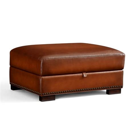 pottery barn leather ottoman turner leather storage ottoman with nailheads pottery barn