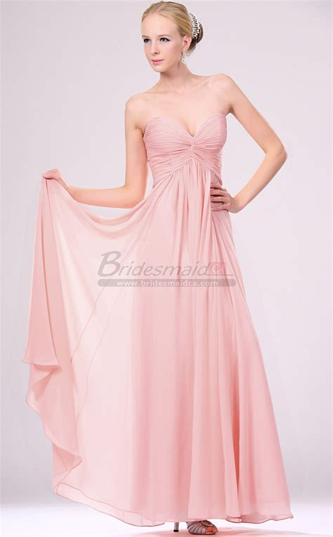 Pink Bridesmaid Dress by Sweetheart Neckline Chiffon Pink Bridesmaid Dress Bd