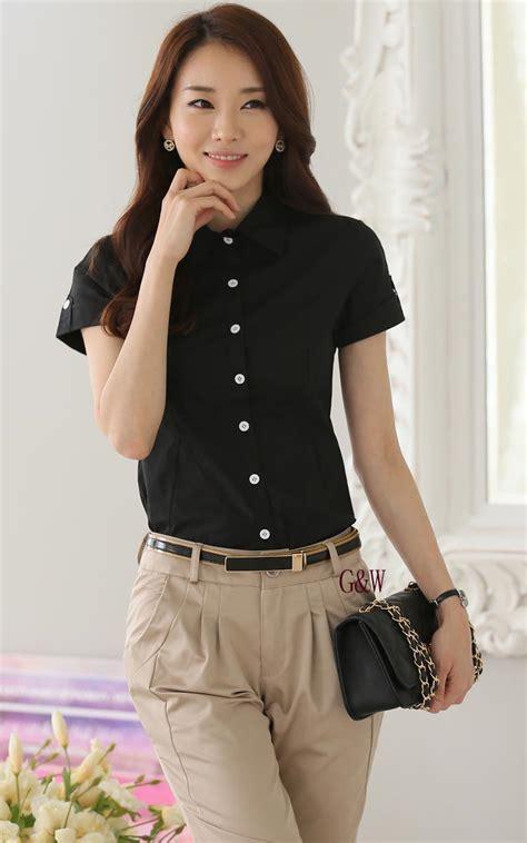 Kemeja Hitam Lengan Pendek kemeja wanita hitam lengan pendek model terbaru jual