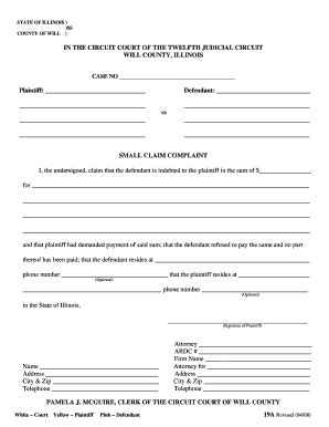 Illinois Court Of Claims Search Ca Small Claims Complaint Fillable Fill Printable Fillable Blank Pdffiller