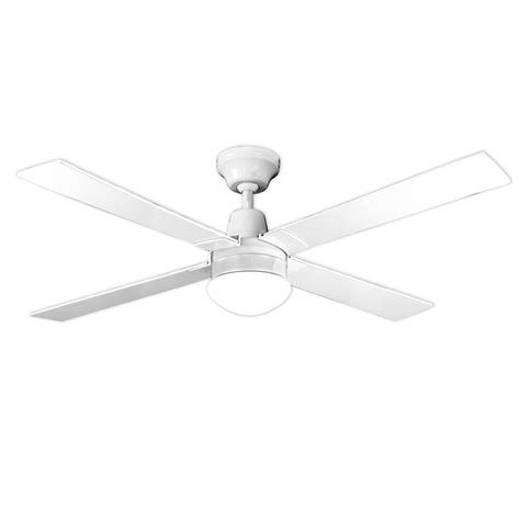arlec 120cm white 4 blade ceiling fan with oyster light