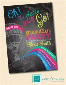oh the places youll go color chalkboard graduation invite custom printable digital file 5x7