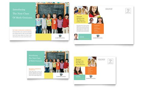 charter school postcard template design