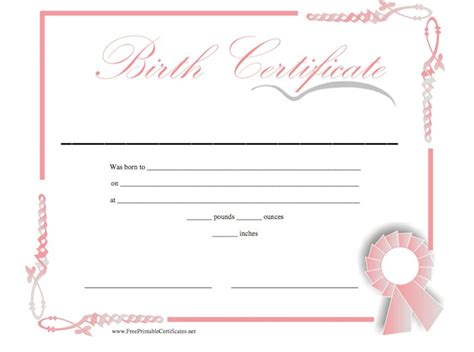 birth certificate template for word birth certificate blank printable studio design
