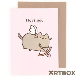 buy pusheen the cat i you cupid greeting card at artbox