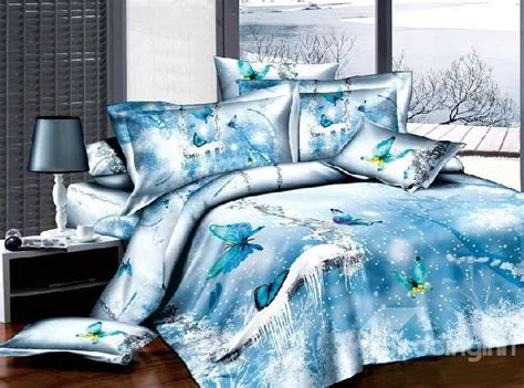 beddinginn 3d comforters new arrival 100 cotton 3d ice blue butterfly 4 piece