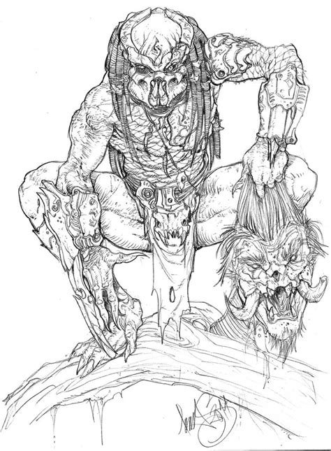 simple predator drawing sketch coloring page