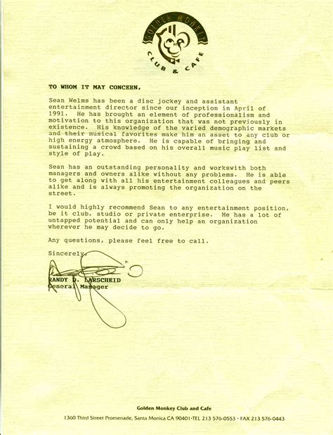 Reference Letter Restaurant Manager 80s dj kroq dj about 1980s dj shawn willms