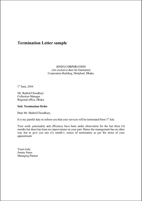letter of termination of employment template termination letter sle exle template and format