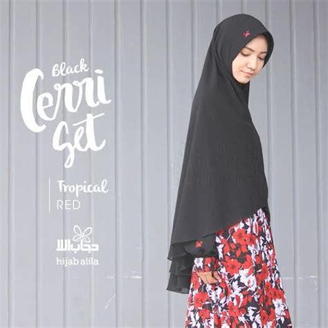 Gamis Set Umroh By Alila jilbab cerri tropical merah alila hijabku