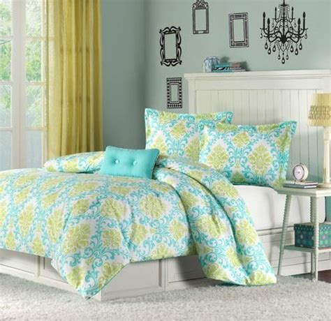 extra long twin comforter sets 6t teal green damask motif comforter bedding set size