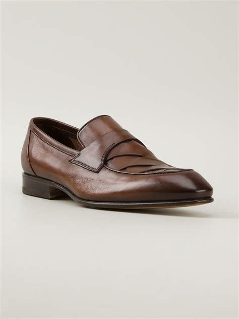 santoni loafer santoni classic loafer in brown for lyst