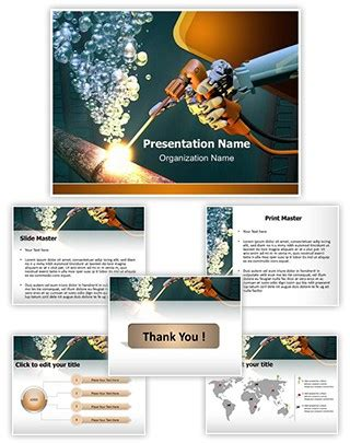 Pipe Fitting Welding And Brazing Templates For Business Cards by Professional Underwater Welding Editable Powerpoint Template